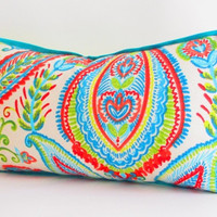 Bright, Tropical Decorative Designer Pillow Cover, Lumbar Pillow, Teal blue, Red,Lime Green, and Light Blue Pillow Cushion, Reversible