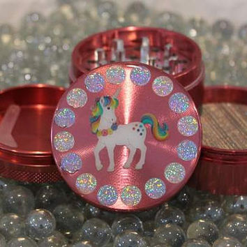 Medium size glittery Unicorn on Pink herb grinder 4 piece metal with scraper