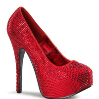 Bordello Red Sparkle Platform Pumps