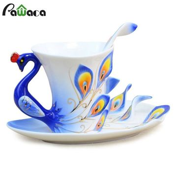 Peacock Coffee Cup Enamel Porcelain Tea Milk Cup Ceramic Coffee Mug Spoon Saucer Set 3D Bone China Drinkware For Friend Gift