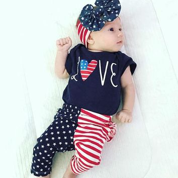 Love Heart Flag Outfit Navy Stars Onesuit Pants And Headband
