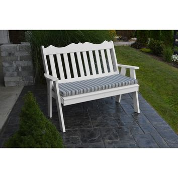 A&L Furniture Company Recycled Plastic 4' Royal English Garden Bench  - Ships FREE in 5-7 Business days