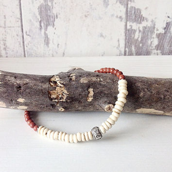Mens beaded bracelet, unisex beaded bracelet, surfer style jewelry, stacking bracelet, friendship bracelet, natural stone bracelet,