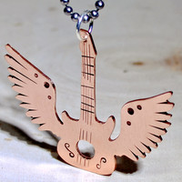 Winged copper guitar necklace with musical inspiration