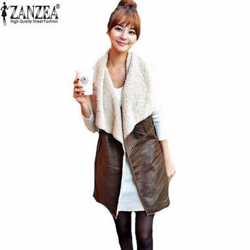 ESBU3C Zanzea Autumn Winter 2016 Fashion Women Leisure Warm Faux Fur Collar Long Leather Waistcoat Coat Outerwear Vest Casual Jacket