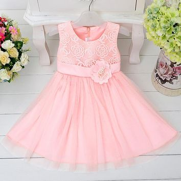 Retail Elegant Pink Flower Girl Dresses With Tulle Baby Party Prom Dress Girl First Communion Pageant Gowns L9003