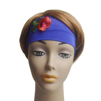 Haimeikang Fashion Women Lady Bohemia Headband Bandanas Rose Floral Flower Embroidery Hairband Head Wraps Hair Band Accessories