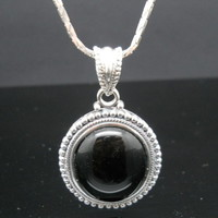 Onyx Bead Necklace Sterling Silver 20 Inch Dragon Scale Chain 925