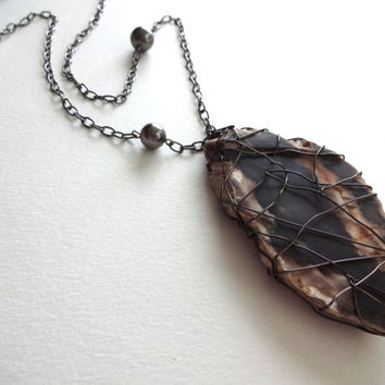 Long Petrified Wood Pendant and Gunmetal Oval Chain Necklace
