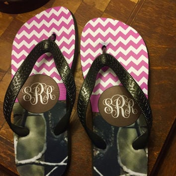 Personalized Chevron Monogram Camo Flip Flop