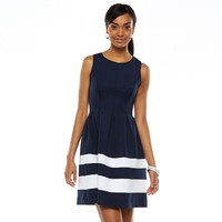 Apt. 9 Colorblock Fit & Flare Scuba Dress - Women's