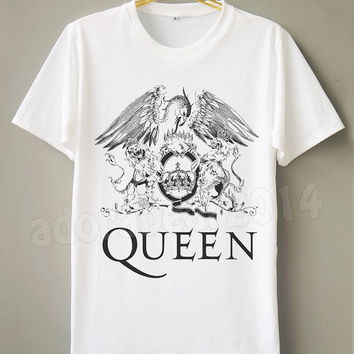 QUEEN T-Shirt Freddie Mercury T-Shirt Rock Band T-Shirt White Tee Shirt Short Sleeve Shirt Unisex T-Shirt Women T-Shirt Men T-Shirt TShirt