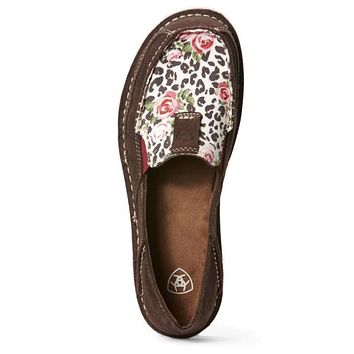 Ariat Women's Chocolate Chip Suede & Leopard Rose Cruisers #10027379- size 8.5