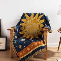 yazi Sun 100% Cotton Throw Double Faced Crochet Thread Blanket Sofa Chair Cover Tapestry Bed Lid Carpets Floor Rug