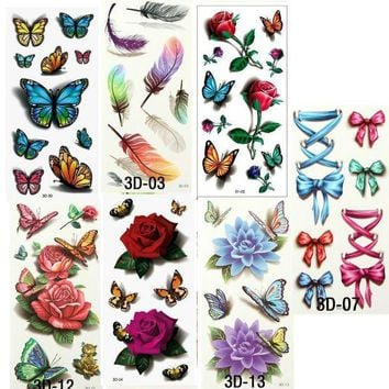 ac ICIKO2Q 7PCS Beautiful Cute Water Transfer Tattoos Body Art Makeup Cool 3D Waterproof Temporary Tattoo Stickers For Girls Man Tatouage