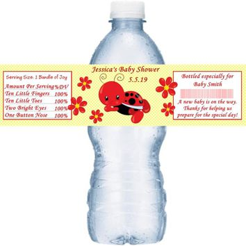 21 Ladybug Baby Shower Water Bottle Labels
