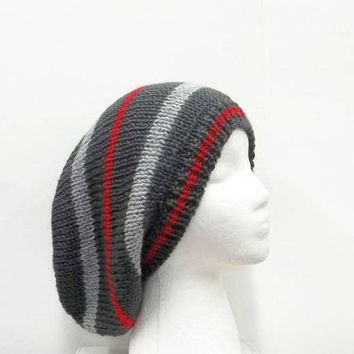 Oversized Hat Red Gray  hand knitted   5291