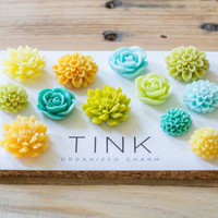 SALE! Cute Decorative Flower Thumbtacks - Set of 12 -  Blithe: Yellow/Orange/Green/Teal/Blue