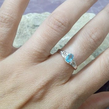 SALE!Aquamarine Ring, Prong Ring ,Lace Silver Ring,Oval Ring,March Ring,Sterling Silver Ring, Birthstone Ring,Promise Ring'Birthstone Ring