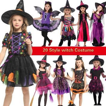 Cool halloween costume for kids witch costumes girls anime cosplay medieval children child scary vampire Carnival Party fancy dressAT_93_12