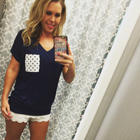 Polka Dot Pocket Tee: Navy