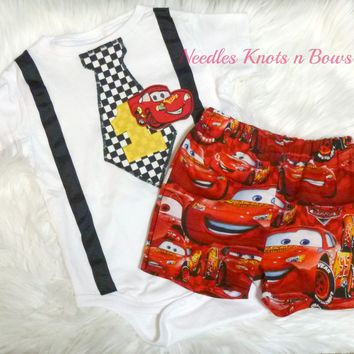 Disney's Cars Birthday Outfit, Boys First, Second Birthday Outfit, Boys Car's Birthday Outfit