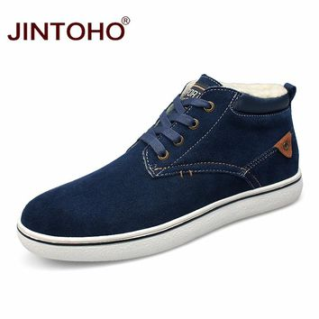 Fashion Casual Men Suede Leather Shoes Winter Warm Snow Shoes Leather Men Boots Rubber Male Boots Ankle Booties