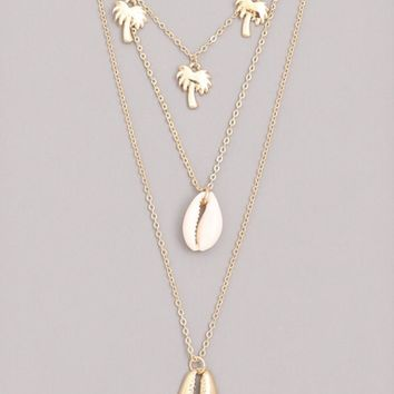 Cowrie Tropic Layered NEcklace