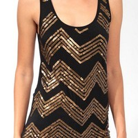 Sequined Zigzag Tank