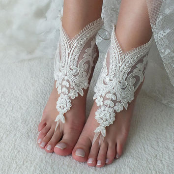ivory lace Beach wedding barefoot sandals wedding shoes prom party lace barefoot sandals bangle beach anklets bride bridesmaid gift