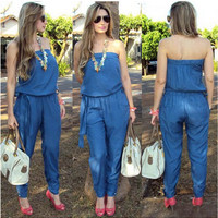 Blue Wrapped Chest Denim Jumpsuit with Sash