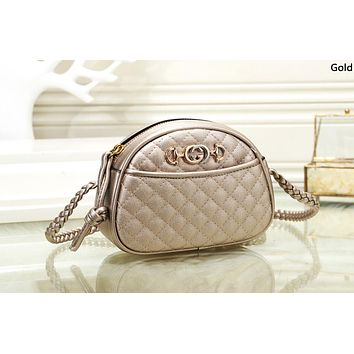 GUCCI 2019 new rhombic pattern women's simple chain bag shoulder bag Gold