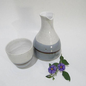 Ceramic Carafe and Beaker, Water Carafe and Drinking Cup, Handmade Pottery in Grey and White