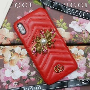 Gucci Popular logo metal honeybee gucci iphone7/8 hand case 6plus skin pattern x protection sleeve Red