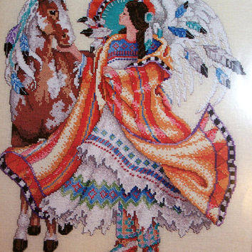 Native American Angel Cross Stitch Pattern by Barbara Baatz, Cross Stitch Masterpiece Collection