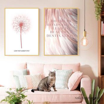 Abstract Pink Feather Love Letter Dandelion Flowers Wall Art Canvas Paintings Posters And Prints Canvas Prints Art Two Unframed