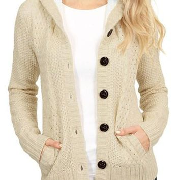 Chic Fleece Hooded Apricot Button Down Cardigan Sweater