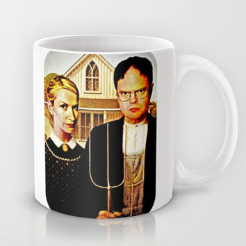 Dwight Schrute & Angela Martin (The Office: American Gothic) Mug by Silvio Ledbetter