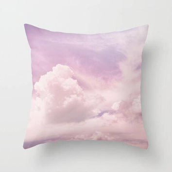 Pink Sky Cloud Print Pillow, Baby Pink Pillow, Pink Nursery Pillow, Light Purple Decorative Pillow, Pastel Square Throw Pillow, Pink Decor