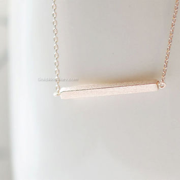 slim rose gold bar necklace..Slim bar necklace, sideways bar necklace, dainty minimalist handmade necklace, wedding gifts, bridesmaid gifts