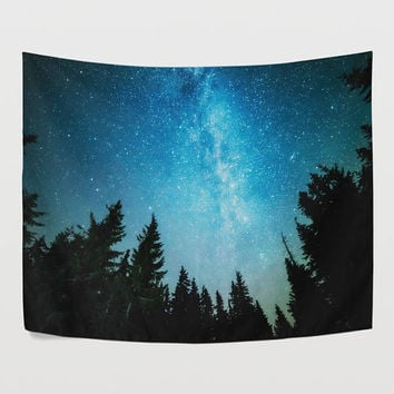 Forest Milky Way Tapestry Wall Hanging Blue Night Sky Tree Wall Decor Art