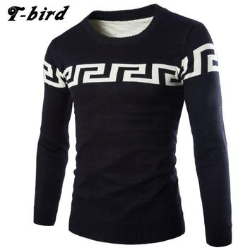 T-bird 2017 Fashion Brand Clothing Men Sweater Pattern Printing O-Neck Slim Fit Casual Pullover Men Sweaters Knitting Mens HV485
