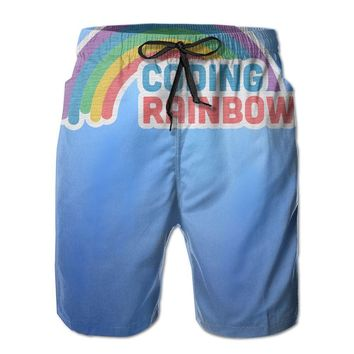 Coding Rainbow Mens Fashion Casual Beach Shorts