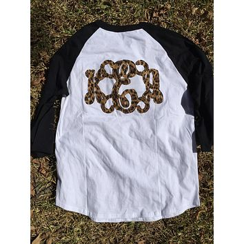 DOUBLE Monogrammed baseball tee, Front and Back!