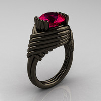 Modern Antique 14K Black Gold 3.0 Carat Ruby Wedding Ring R211-14KBGR