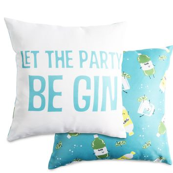 Let the party be gin Throw Pillow