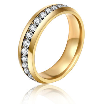 1 Piece! Stainless Steel Rings for Men Women Gold Plated Wedding Bands Engagement Anniversary Lovers his and hers promise