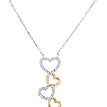 10kt Two-tone White Gold Womens Round Diamond Cascading Heart Pendant Necklace 1/6 Cttw