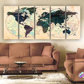 "XLARGE 30""x70"" 5 Panels 30""x14"" Ea Art Canvas Print Watercolor Green Beige Map World Push Pin Travel Wall decor (framed 1.5"" depth)M1803"