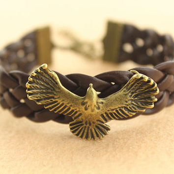 bracelet--egale bracelet,antique bronze charm bracelet,brown leather bracelet,friendship gift